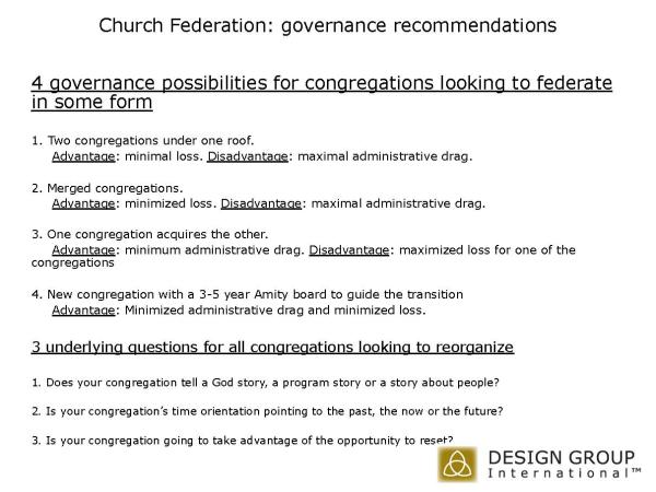 Church Federation, yoked congregations, congregational merger, mark l vincent, design group international